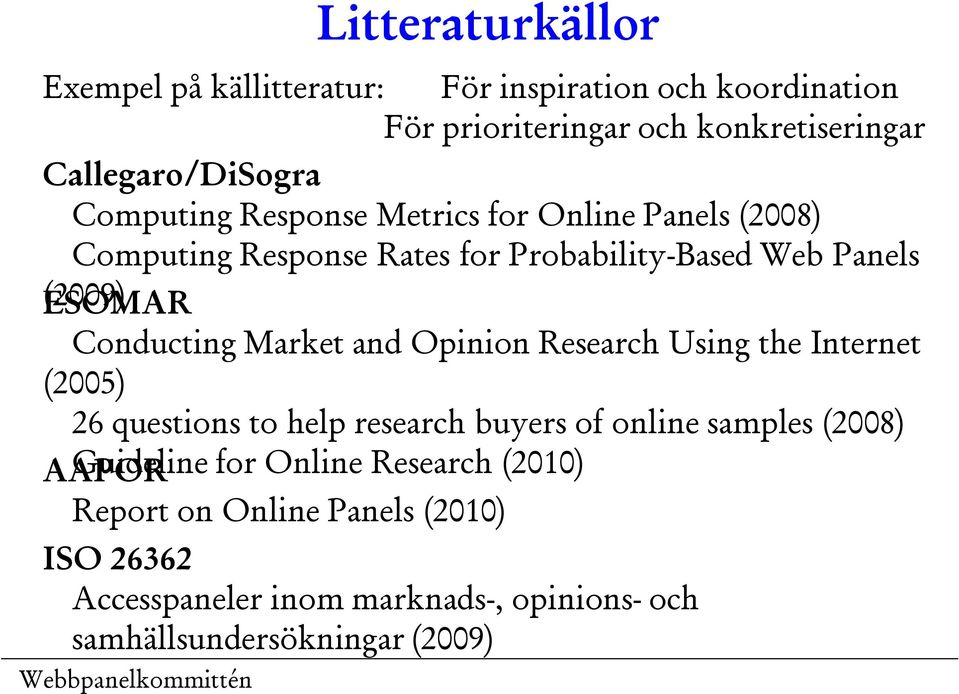 Market and Opinion Research Using the Internet (2005) 26 questions to help research buyers of online samples (2008) Guideline for
