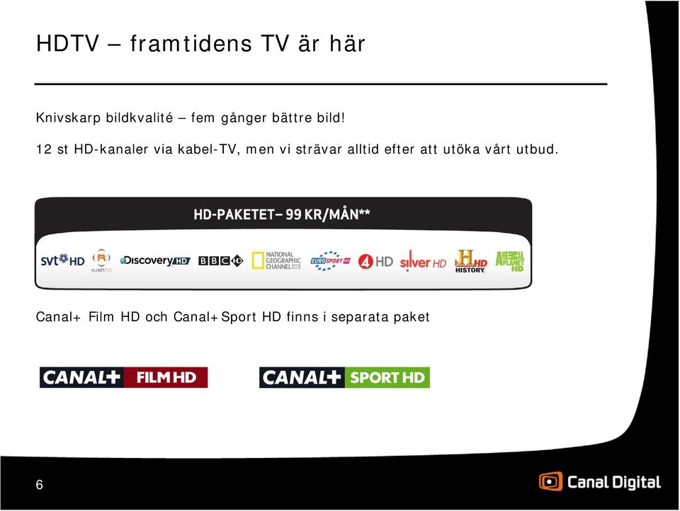 12 st HD-kanaler via kabel-tv, men vi strävar alltid
