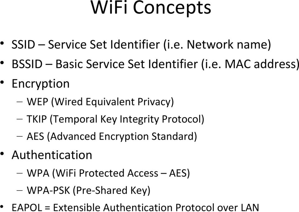 Protocol) AES (Advanced Encryption Standard) Authentication WPA (WiFi Protected Access