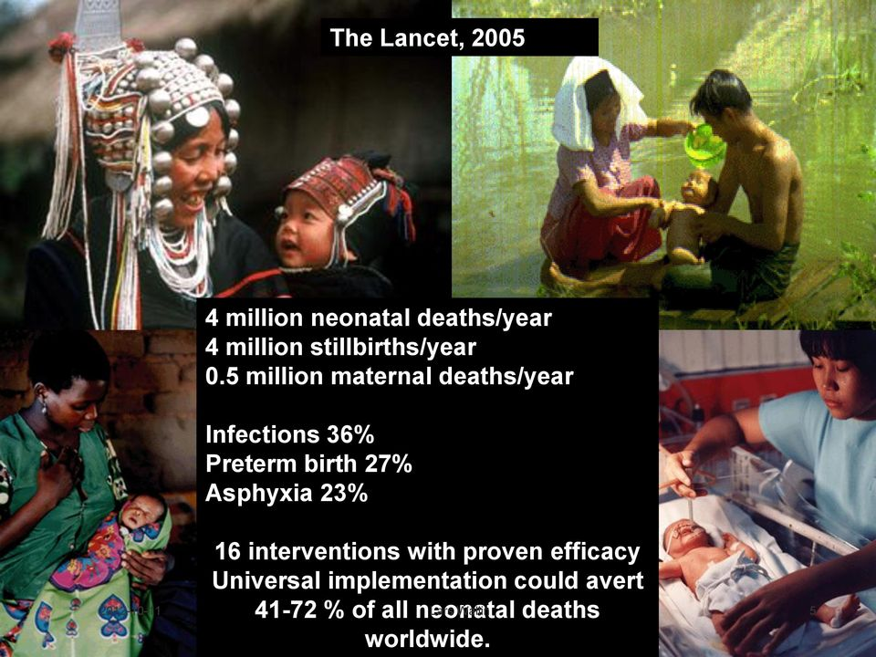 5 million maternal deaths/year Infections 36% Preterm birth 27% Asphyxia