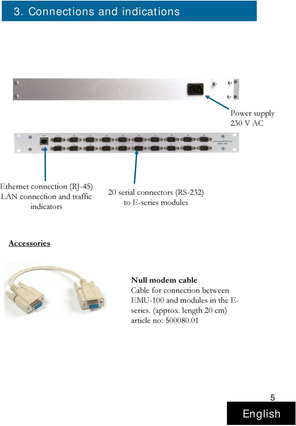 E-series modules Accessories Null modem cable Cable for connection between