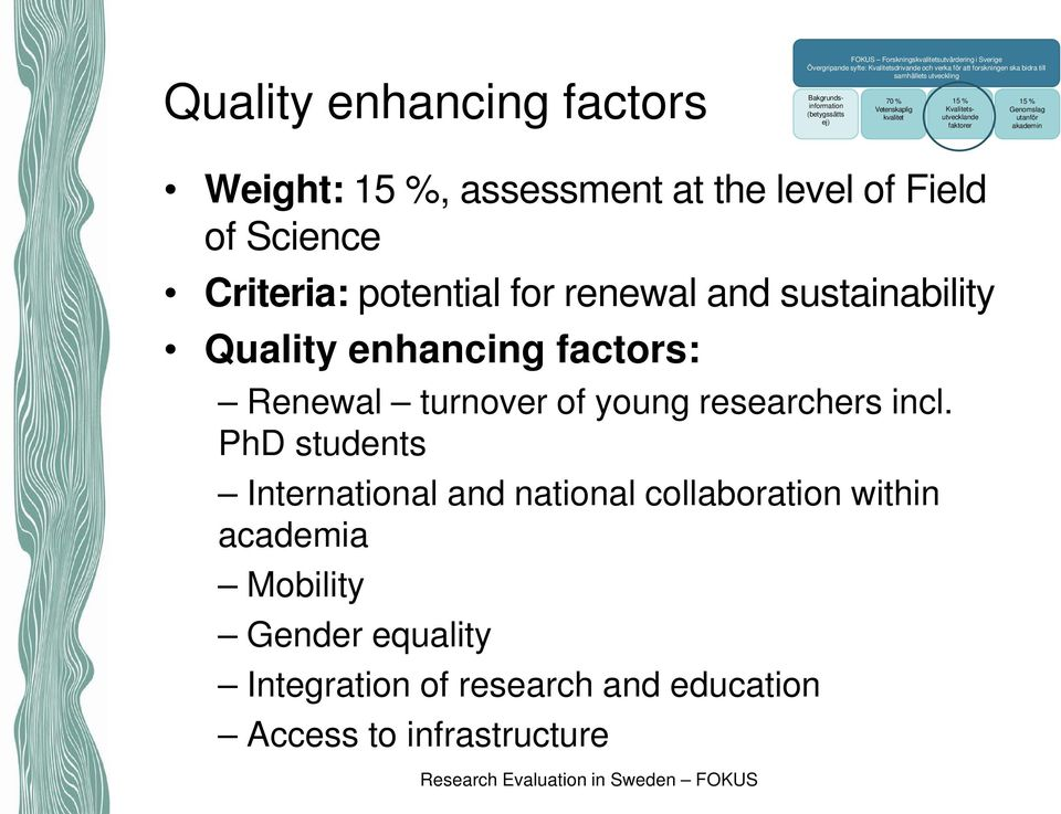 assessment at the level of Field of Science Criteria: potential for renewal and sustainability Quality enhancing factors: Renewal turnover of young