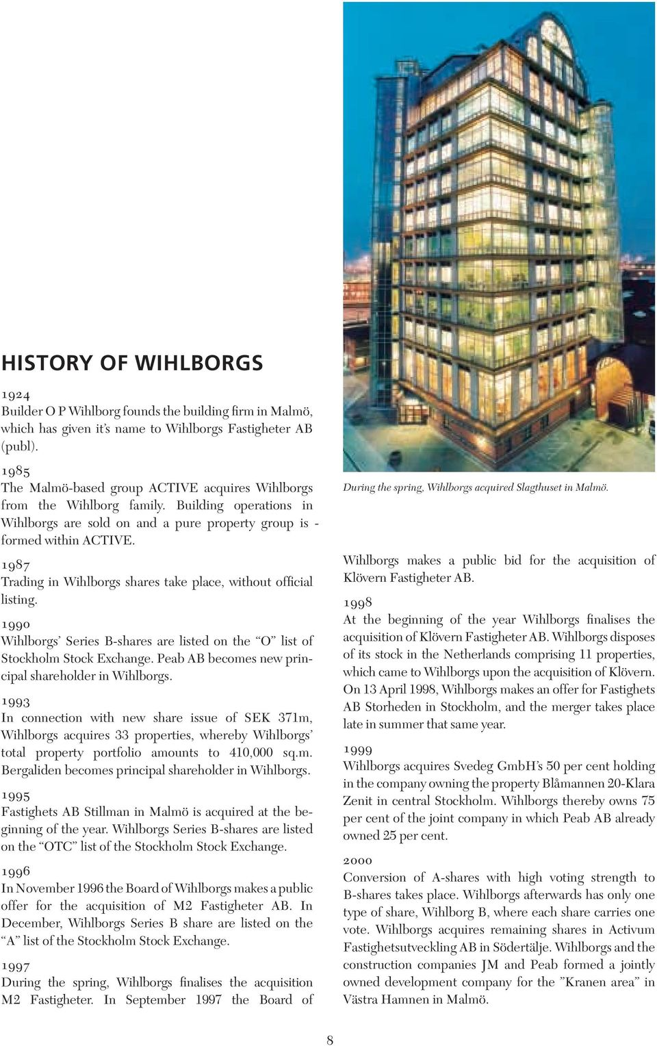 1987 Trading in Wihlborgs shares take place, without official listing. 1990 Wihlborgs Series B-shares are listed on the O list of Stockholm Stock Exchange.