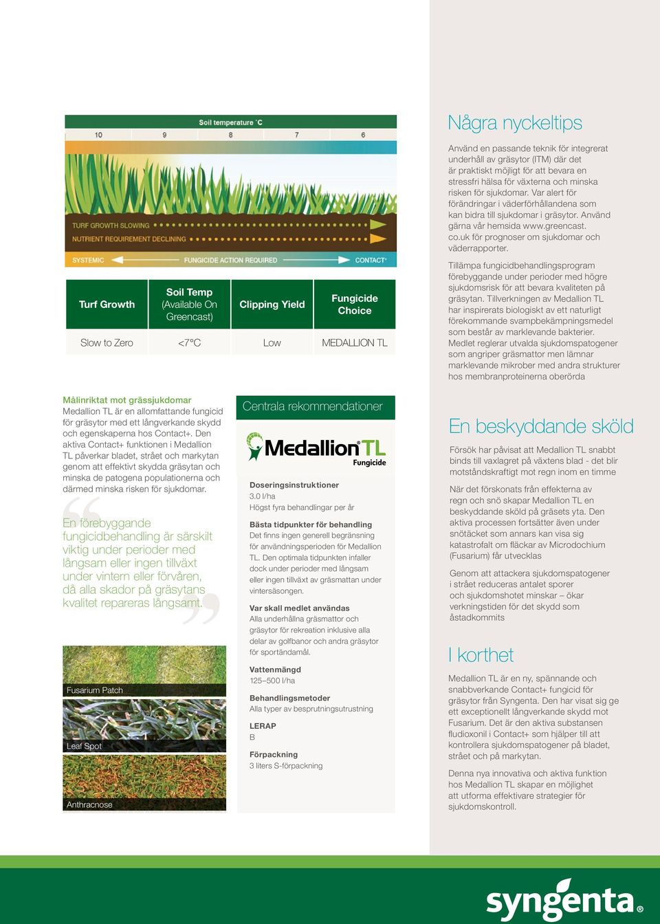 Turf Talk SPRING/SUMMER 2014 PAGE 11 Get the best from Medallion Några TL nyckeltips Contact + protec restriction ever, eriods of ring the enity equipment reas of the orts turf r optimum y coverage