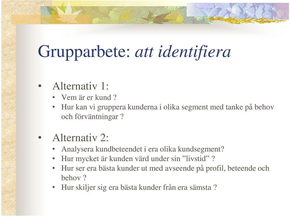Alternativ 2: Analysera kundbeteendet i era olika kundsegment?