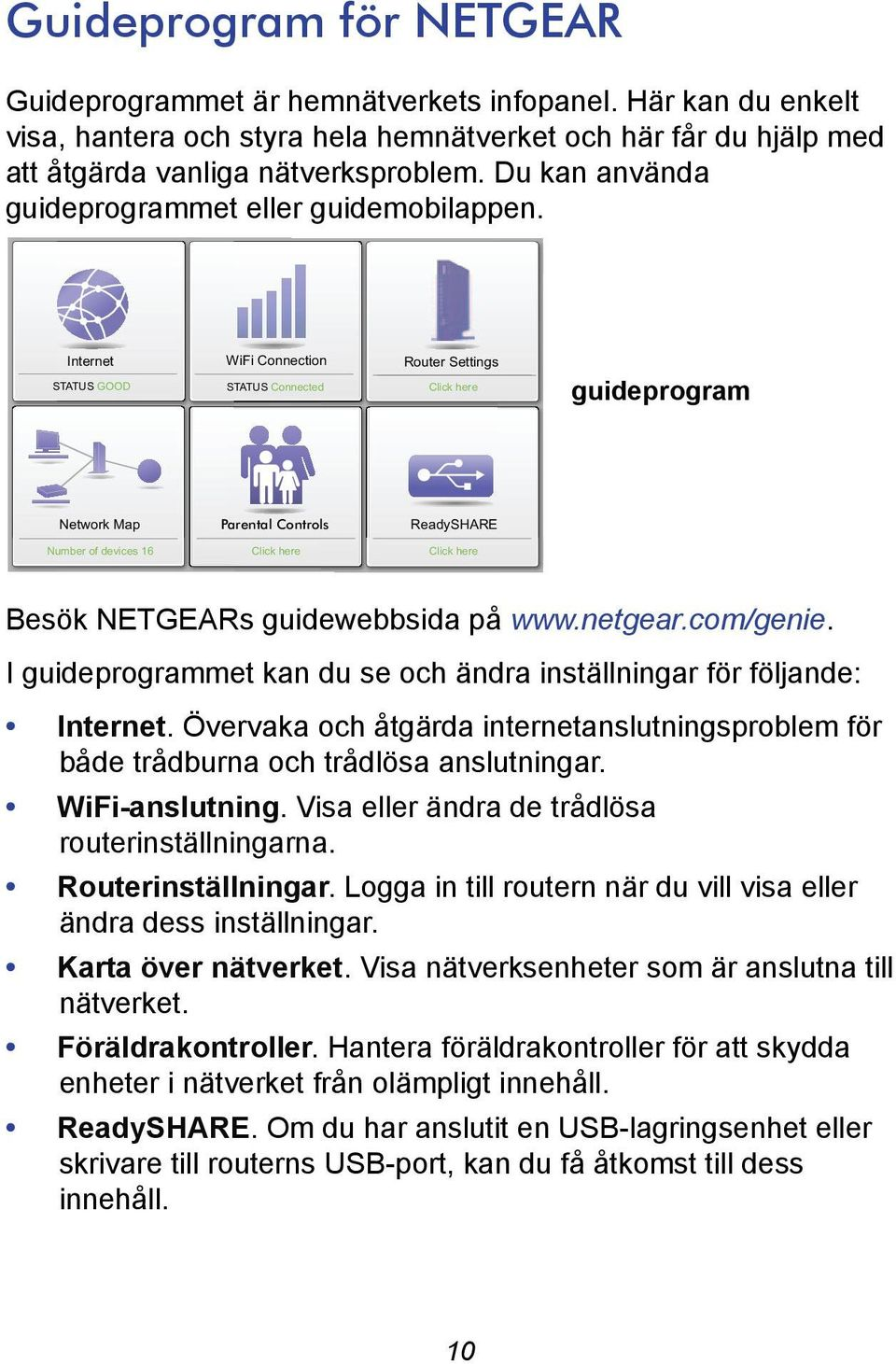 Internet STATUS GOOD WiFi Connection STATUS Connected Router Settings Click here guideprogram Network Map Parental Controls ReadySHARE Number of devices 16 Click here Click here Besök NETGEARs