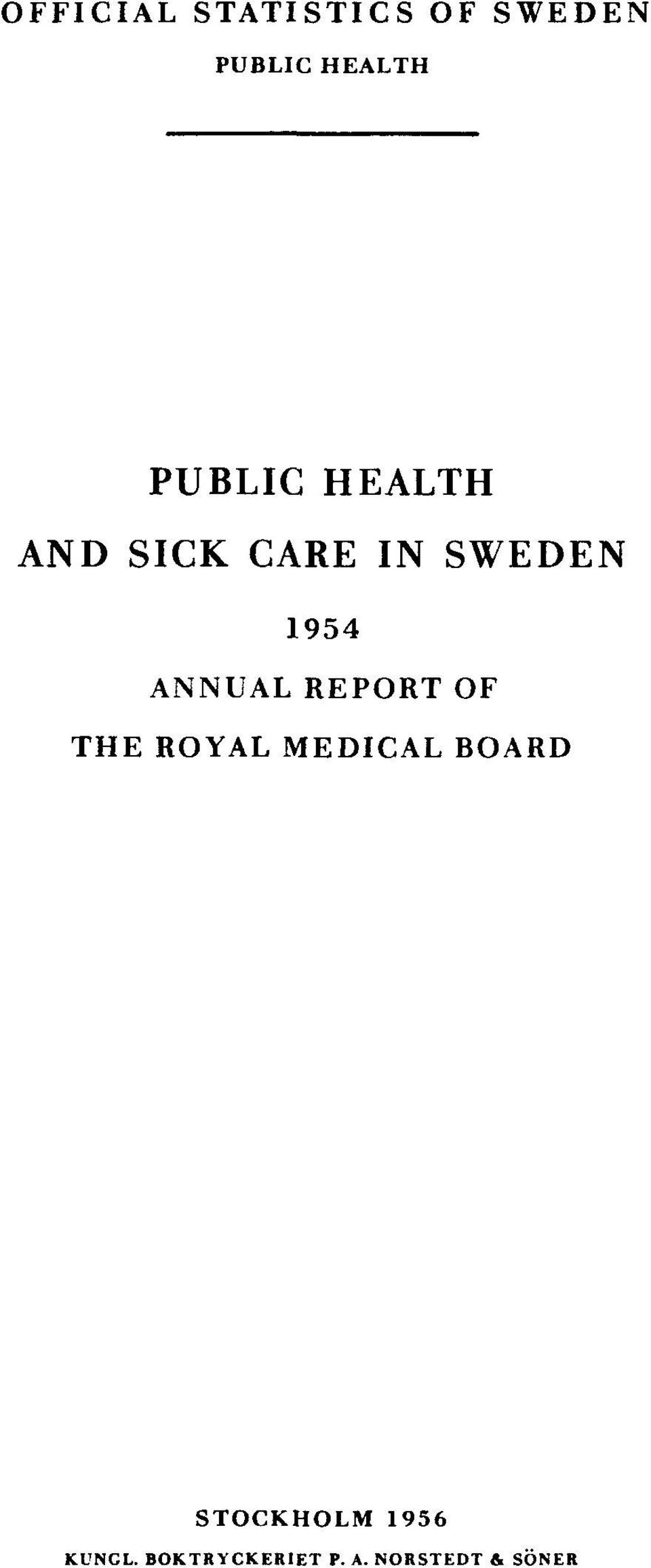 ANNUAL REPORT OF THE ROYAL MEDICAL BOARD