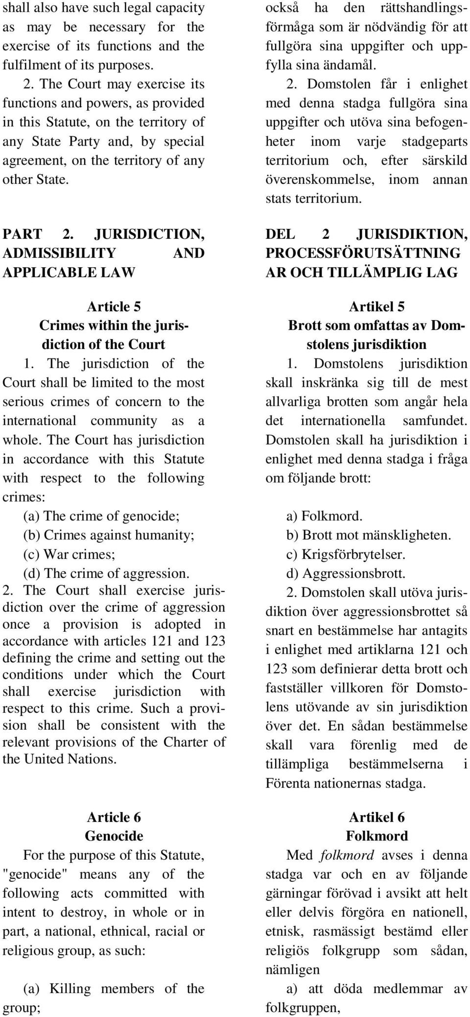 JURISDICTION, ADMISSIBILITY AND APPLICABLE LAW Article 5 Crimes within the jurisdiction of the Court 1.