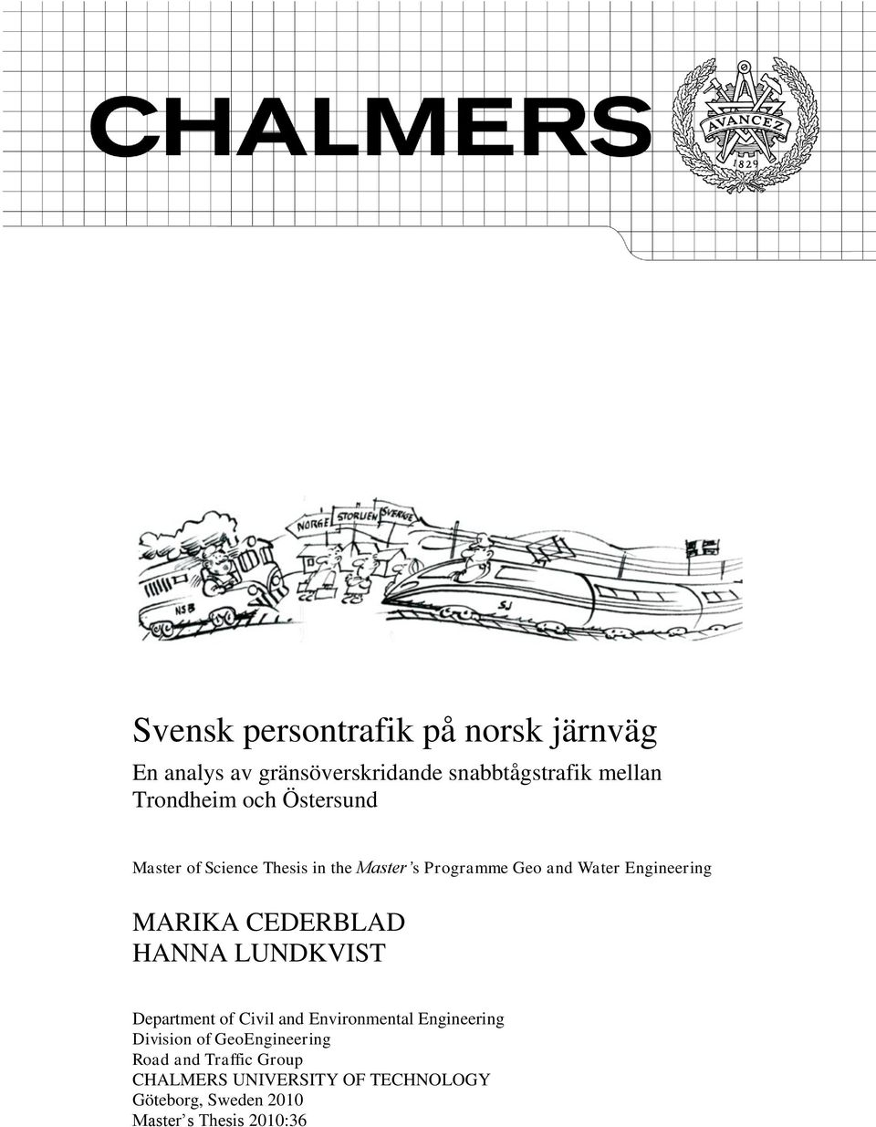 CEDERBLAD HANNA LUNDKVIST Department of Civil and Environmental Engineering Division of