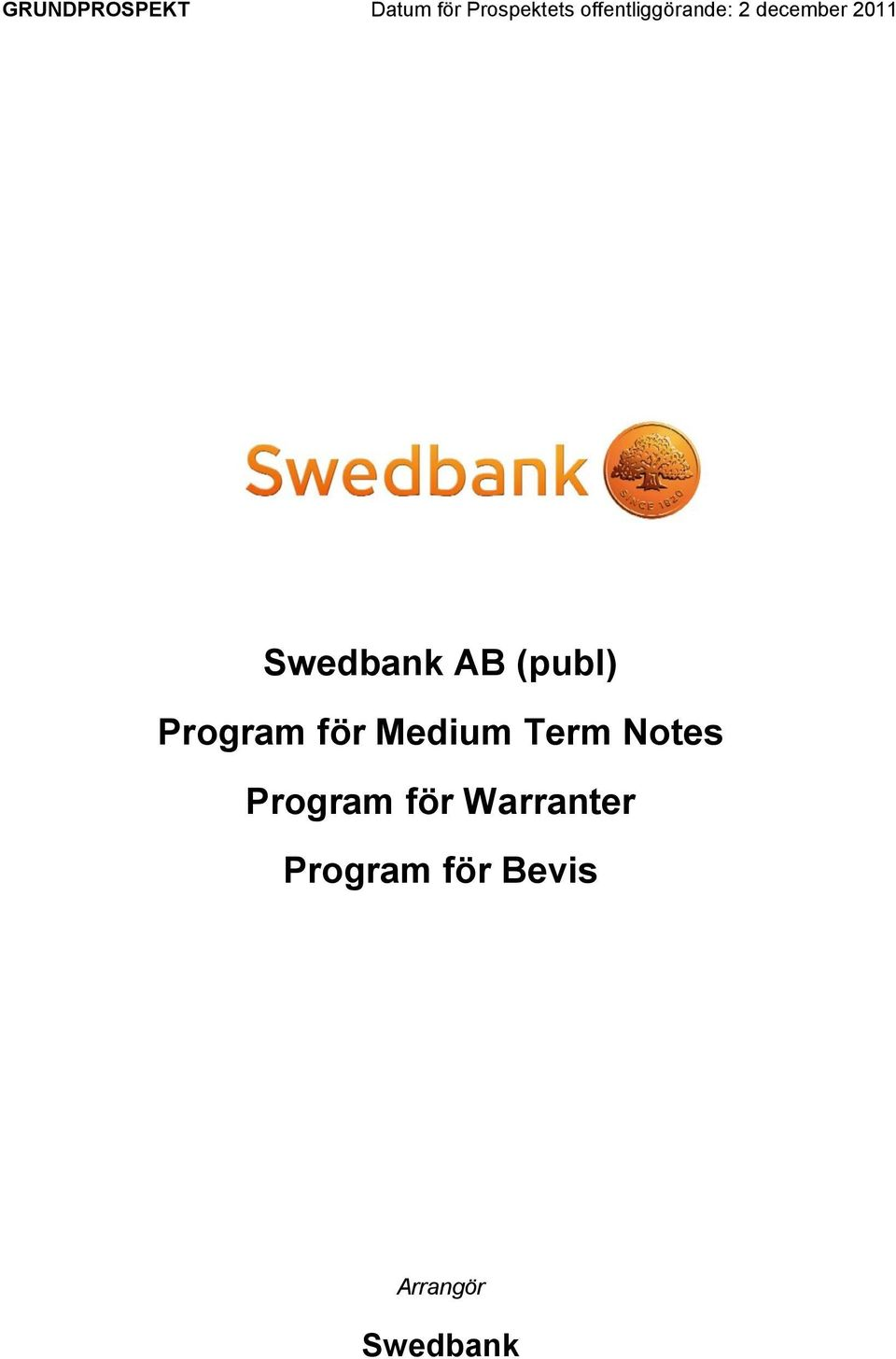AB (publ) Program för Medium Term Notes