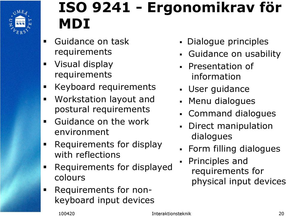 Requirements for nonkeyboard input devices Dialogue principles Guidance on usability Presentation of information User guidance Menu