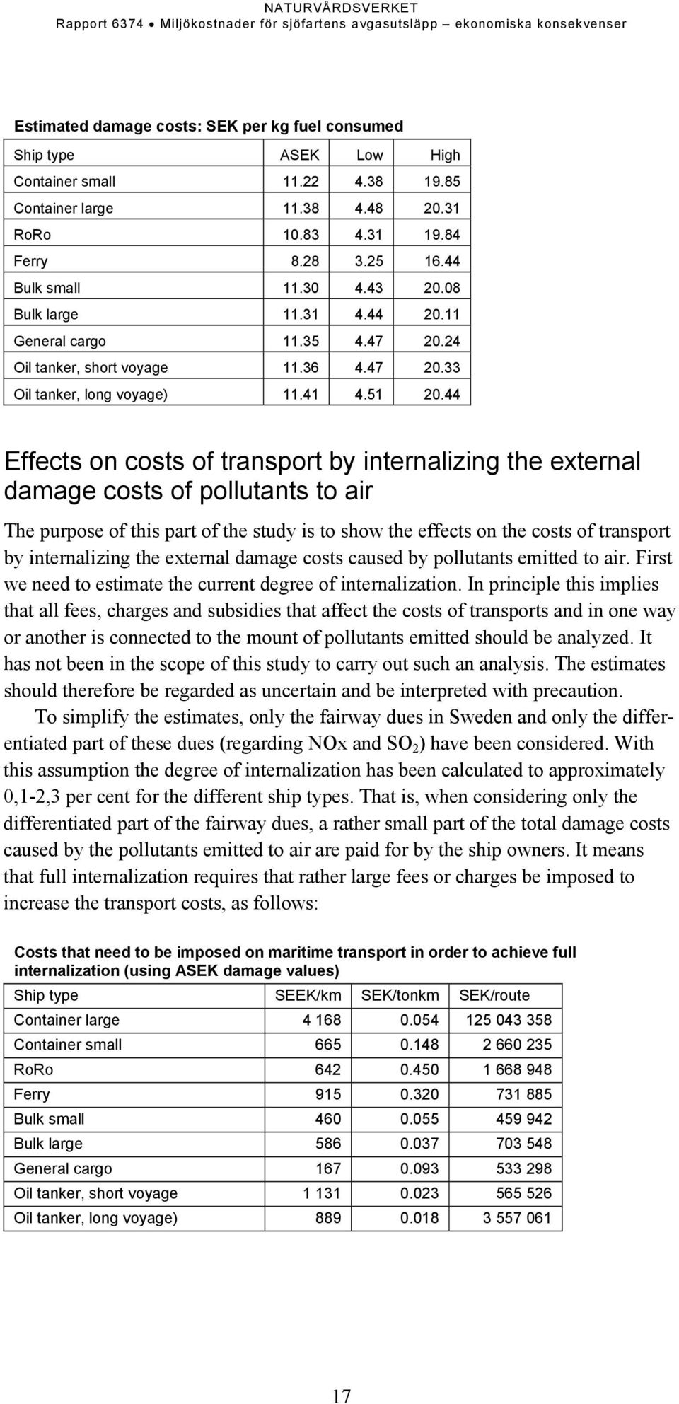 44 Effects on costs of transport by internalizing the external damage costs of pollutants to air The purpose of this part of the study is to show the effects on the costs of transport by