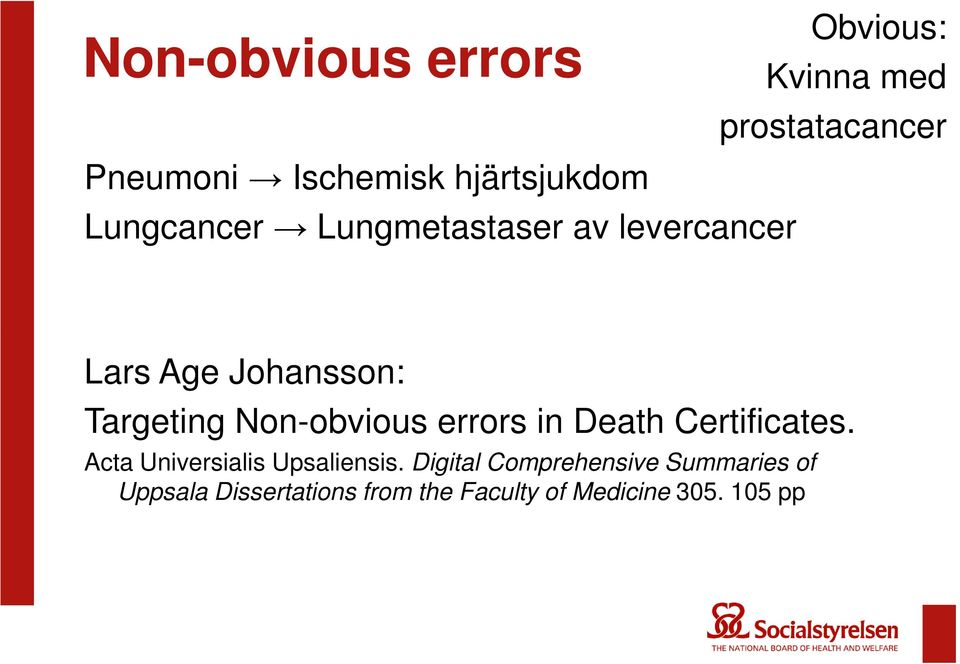 Johansson: Targeting Non-obvious errors in Death Certificates.