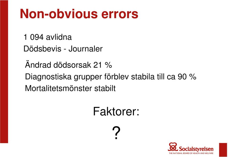 % Diagnostiska grupper förblev stabila