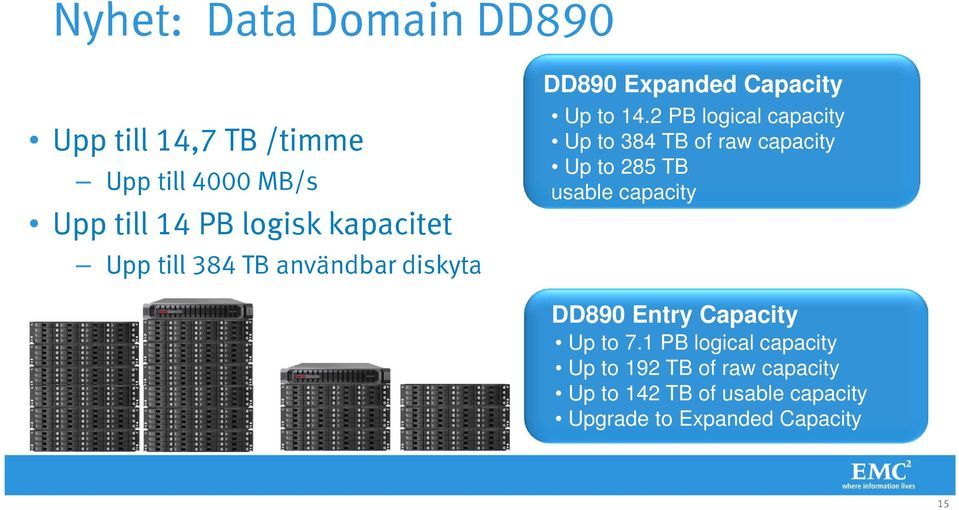 2 PB logical capacity Up to 384 TB of raw capacity Up to 285 TB usable capacity DD890 Entry