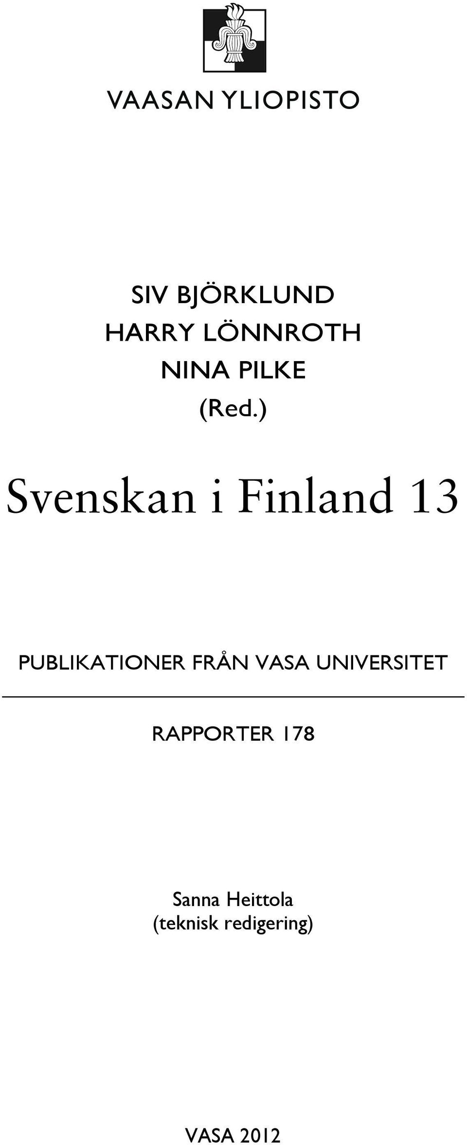 PUBLIKATIONER FRÅN VASA UNIVERSITET