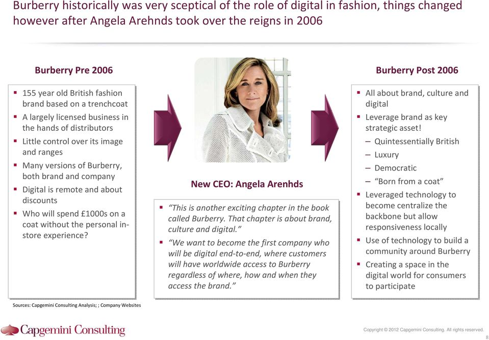 is remote and about discounts Who will spend 1000s on a coat without the personal instore experience? New CEO: Angela Arenhds This is another exciting chapter in the book called Burberry.