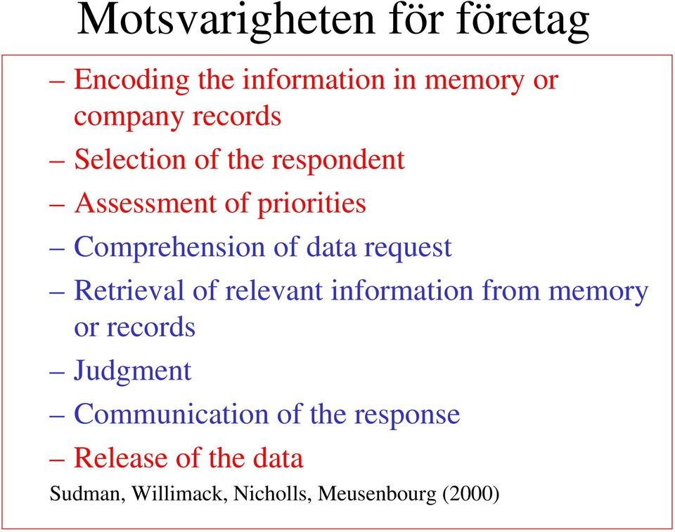 request Retrieval of relevant information from memory or records Judgment