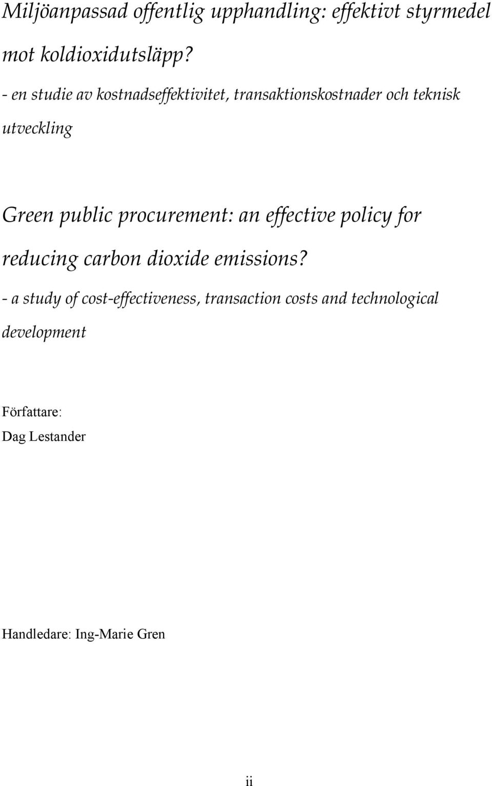 procurement: an effective policy for reducing carbon dioxide emissions?