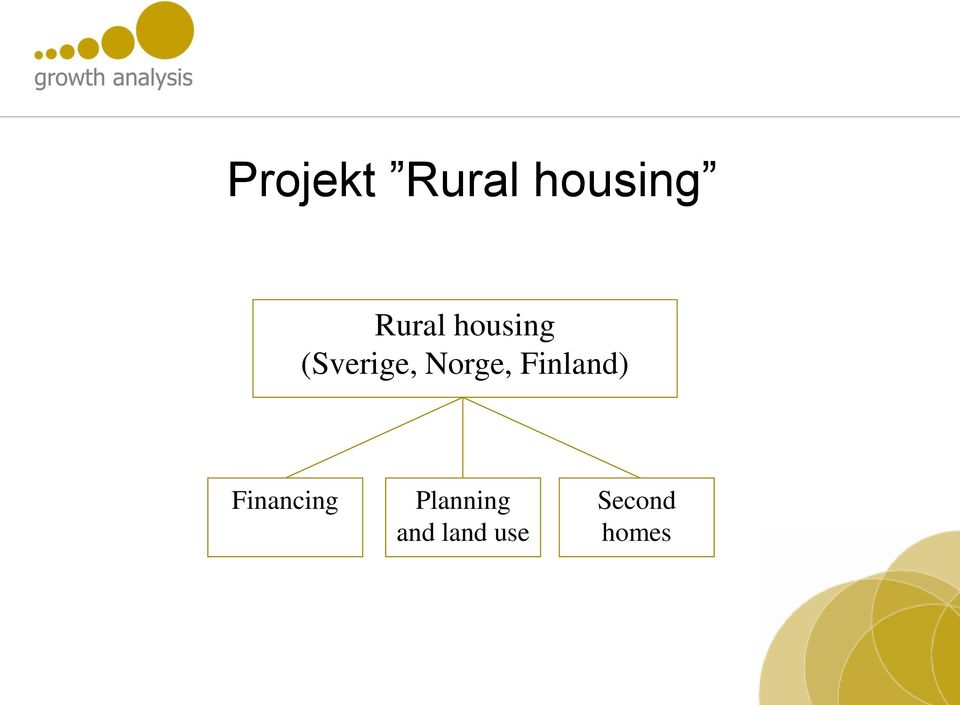 Norge, Finland) Financing