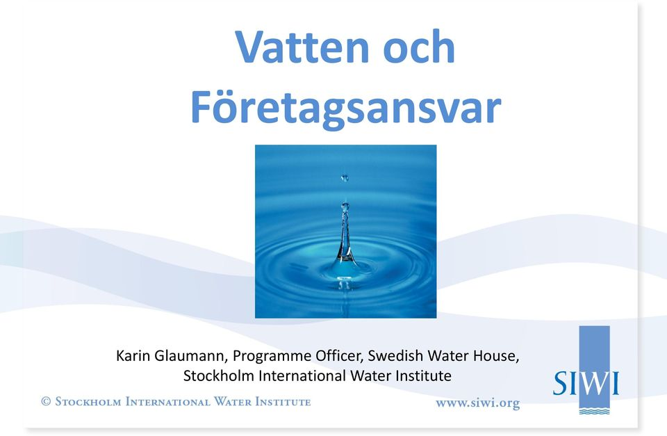 Officer, Swedish Water House,