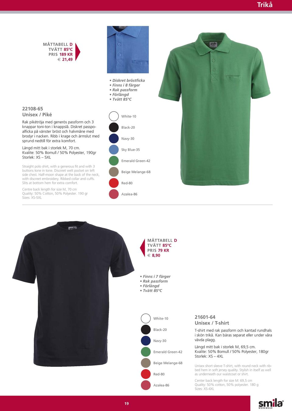 Kvalite: 50% Bomull / 50% Polyester, 190gr Storlek: XS 5XL Straight polo shirt, with a generous fit and with 3 buttons tone in tone. Discreet welt pocket on left side chest.