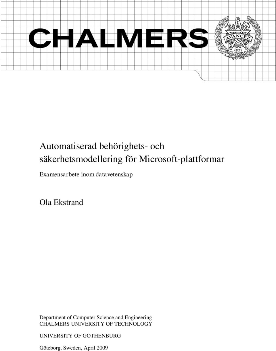 Ekstrand Department of Computer Science and Engineering CHALMERS