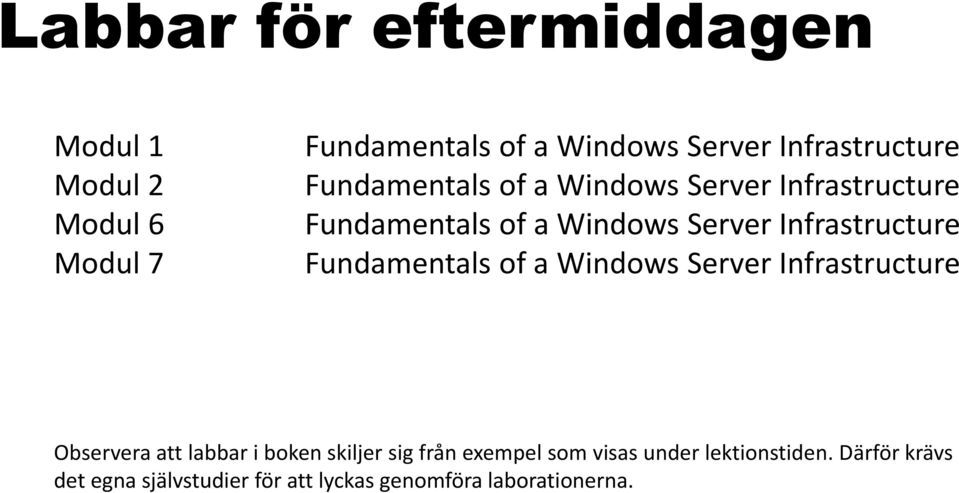 Infrastructure Fundamentals of a Windows Server Infrastructure Observera att labbar i boken skiljer