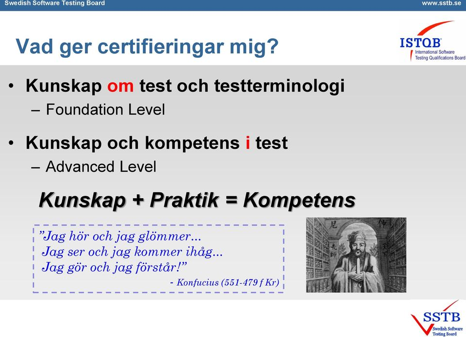 kompetens i test Advanced Level Kunskap + Praktik = Kompetens Jag