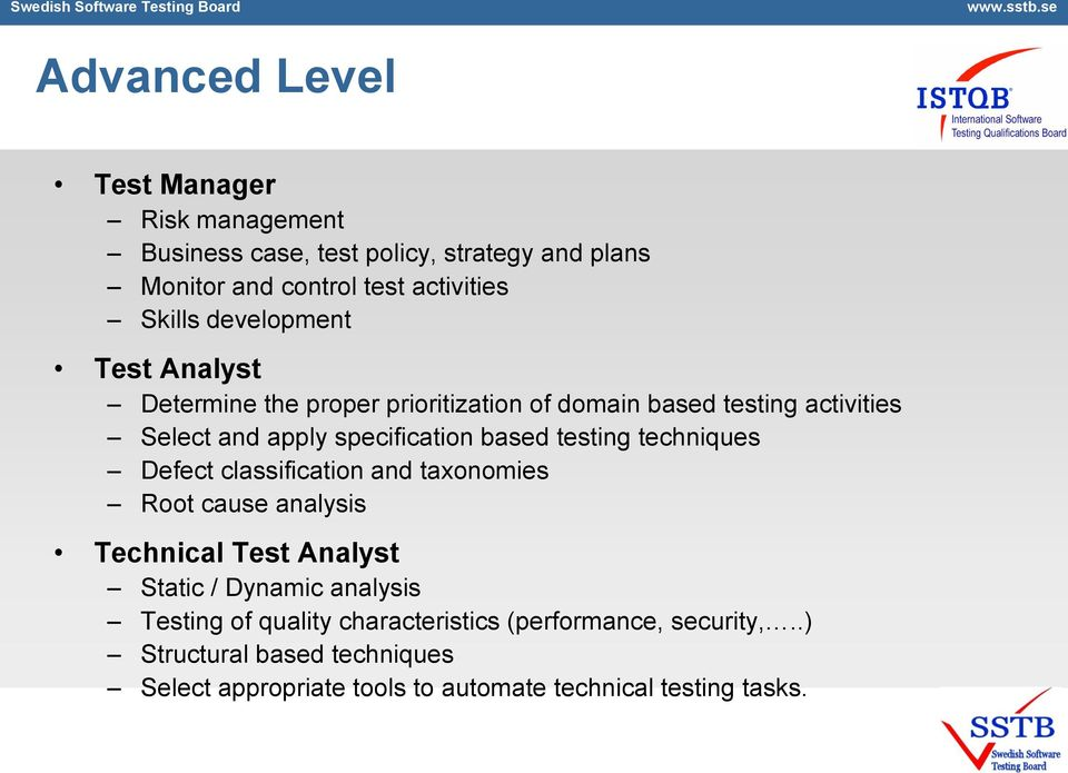 testing techniques Defect classification and taxonomies Root cause analysis Technical Test Analyst Static / Dynamic analysis Testing of