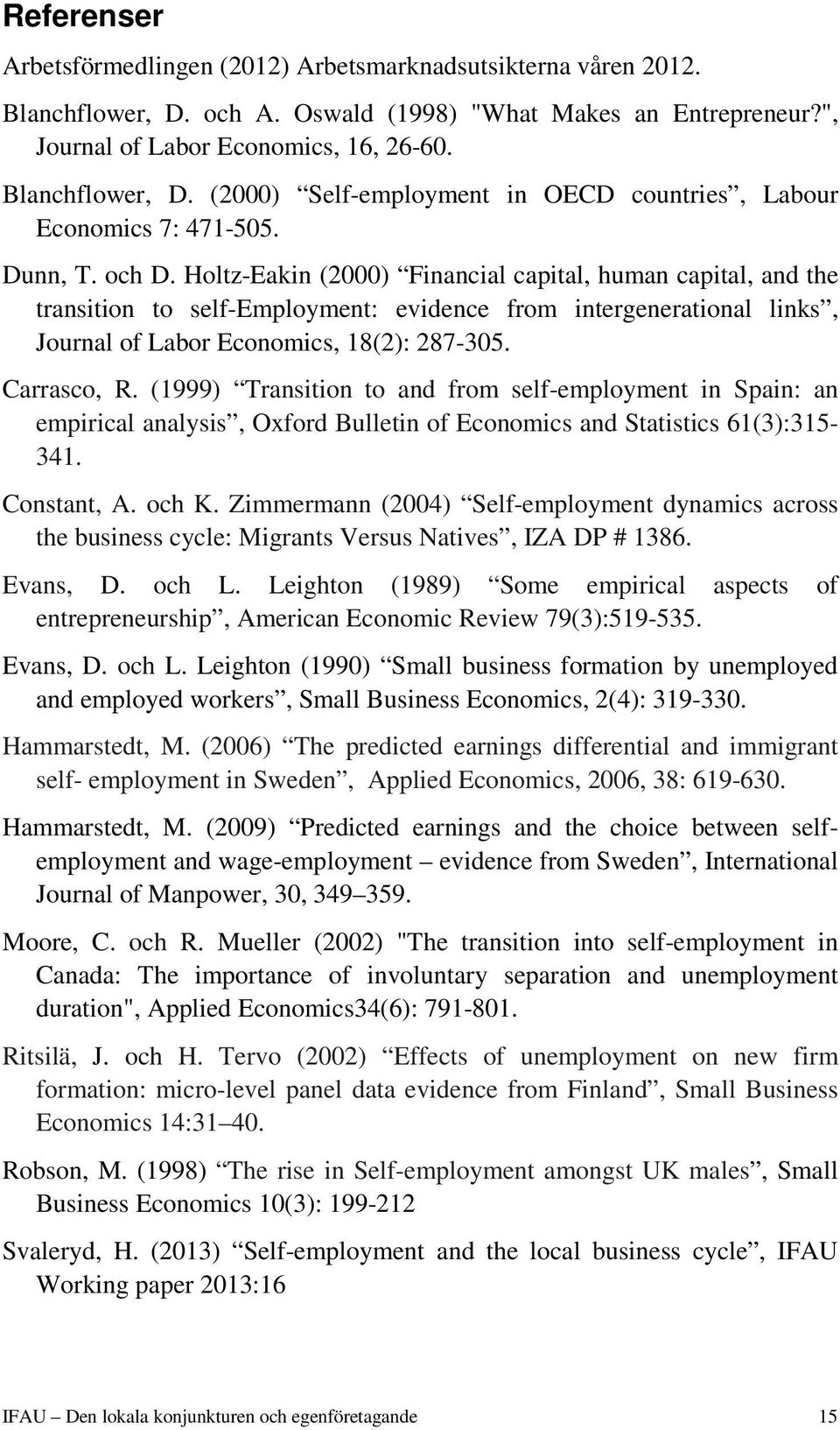 Carrasco, R. (1999) Transition to and from self-employment in Spain: an empirical analysis, Oxford Bulletin of Economics and Statistics 61(3):315-341. Constant, A. och K.