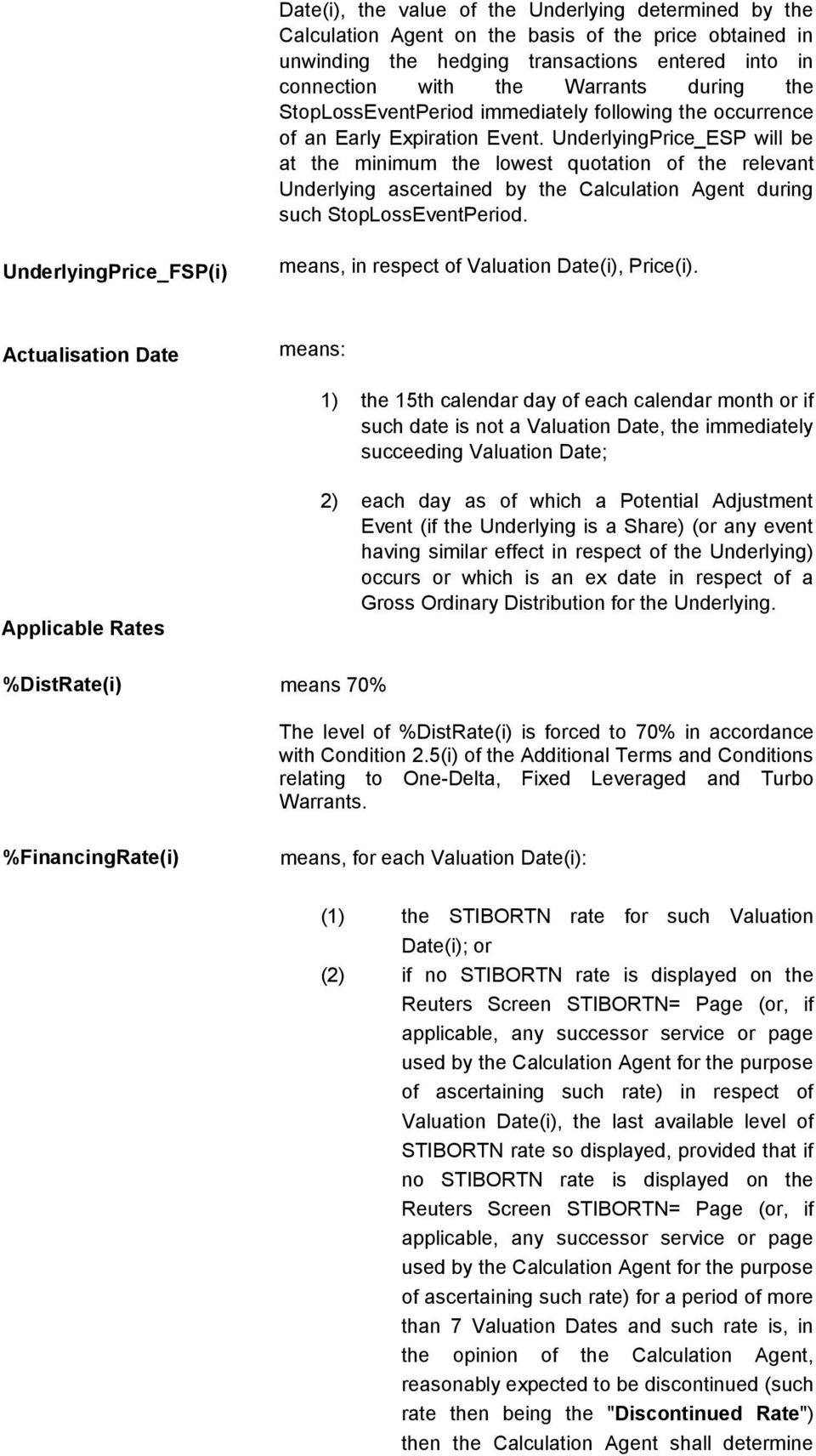 UnderlyingPrice_ESP will be at the minimum the lowest quotation of the relevant Underlying ascertained by the Calculation Agent during such StopLossEventPeriod.