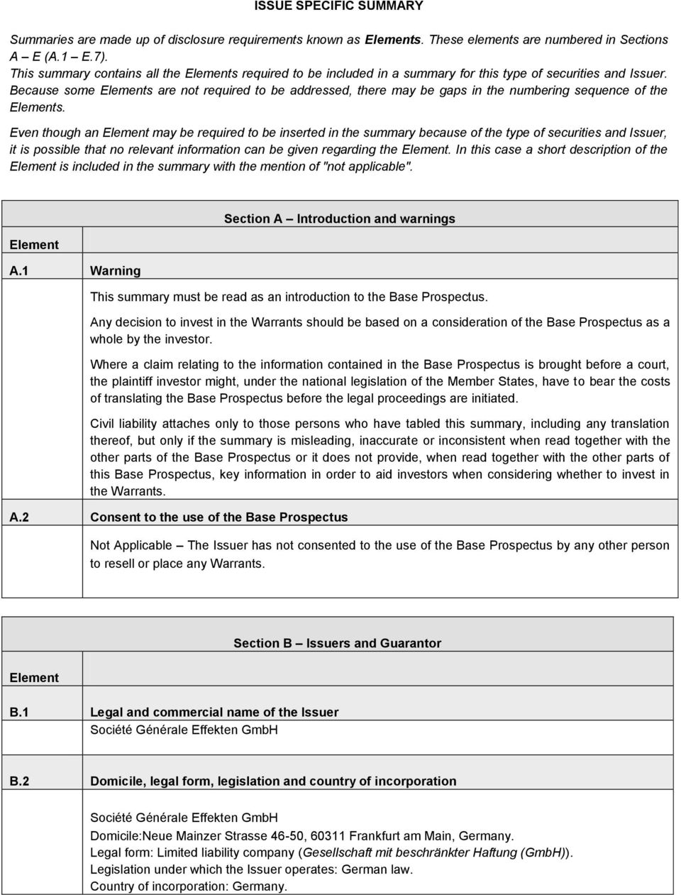Because some Elements are not required to be addressed, there may be gaps in the numbering sequence of the Elements.