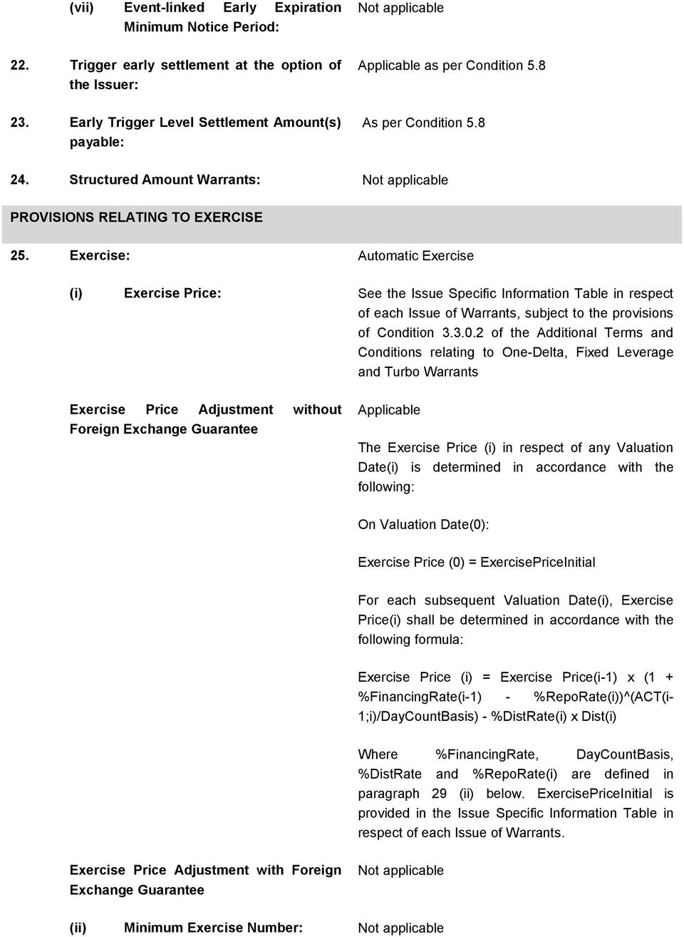 Exercise: Automatic Exercise (i) Exercise Price: See the Issue Specific Information Table in respect of each Issue of Warrants, subject to the provisions of Condition 3.3.0.