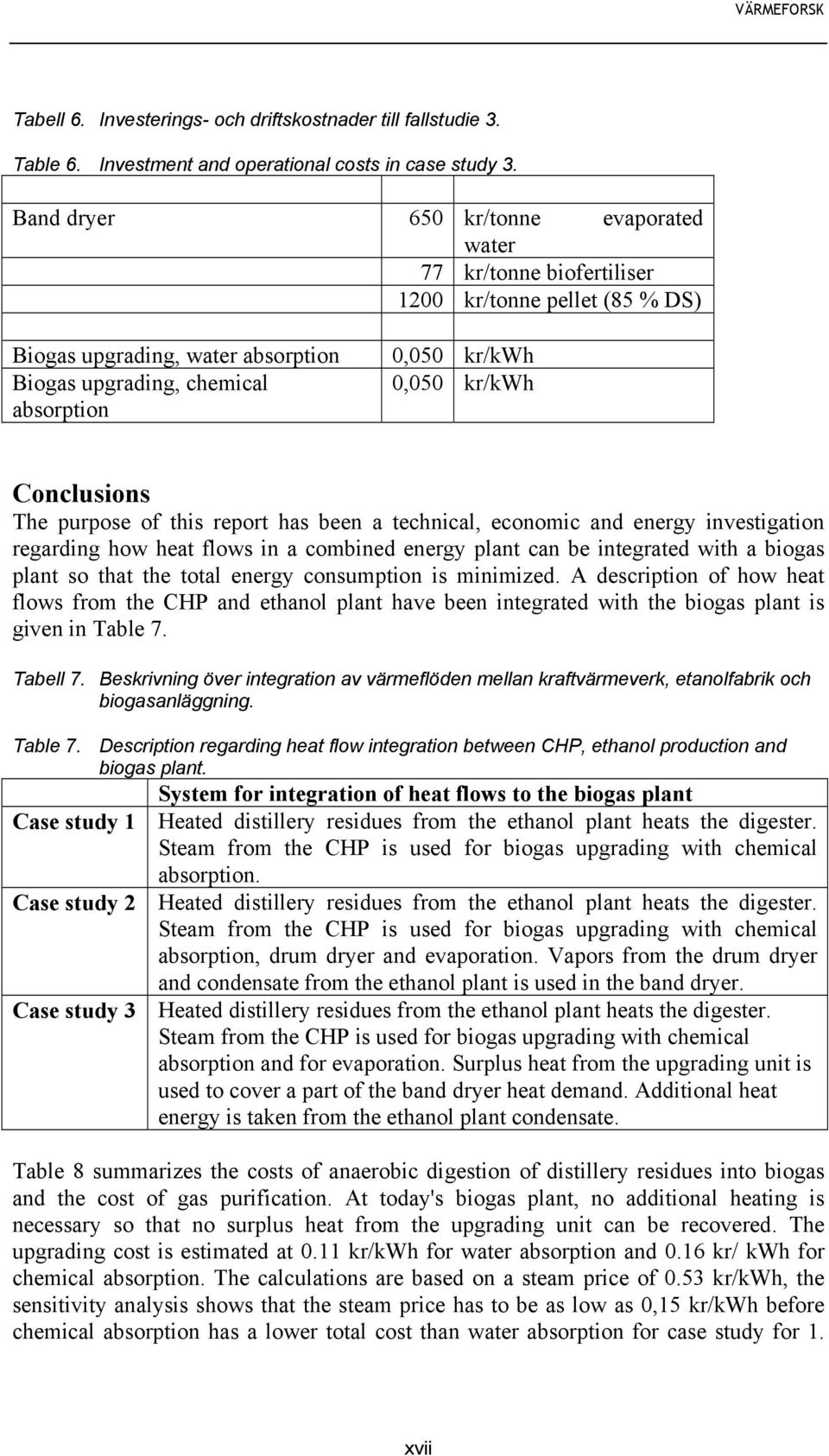 Conclusions The purpose of this report has been a technical, economic and energy investigation regarding how heat flows in a combined energy plant can be integrated with a biogas plant so that the