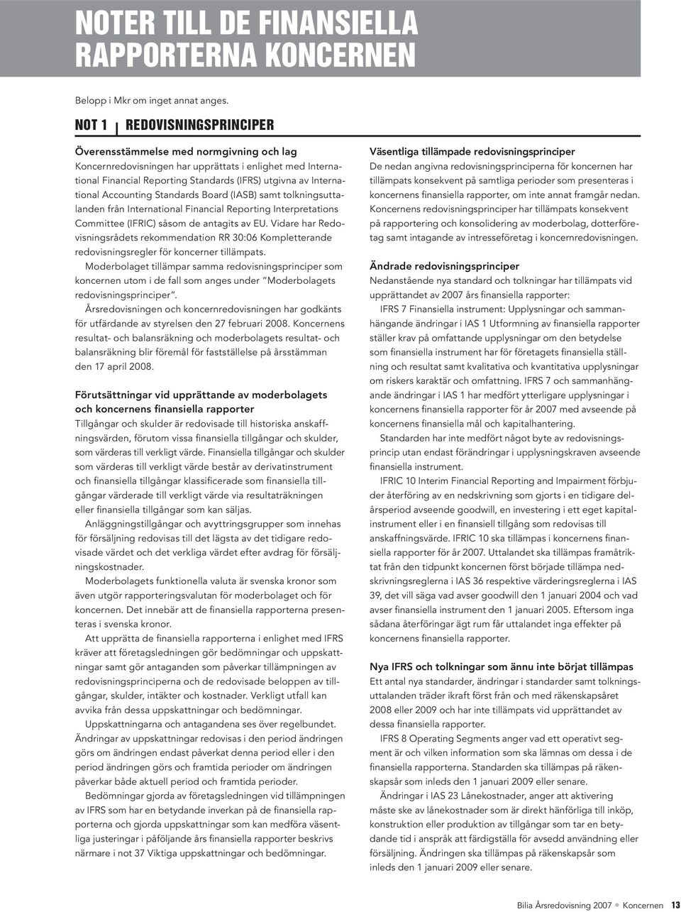 Accounting Standards Board (IASB) samt tolkningsuttalanden från International Financial Reporting Interpretations Committee (IFRIC) såsom de antagits av EU.