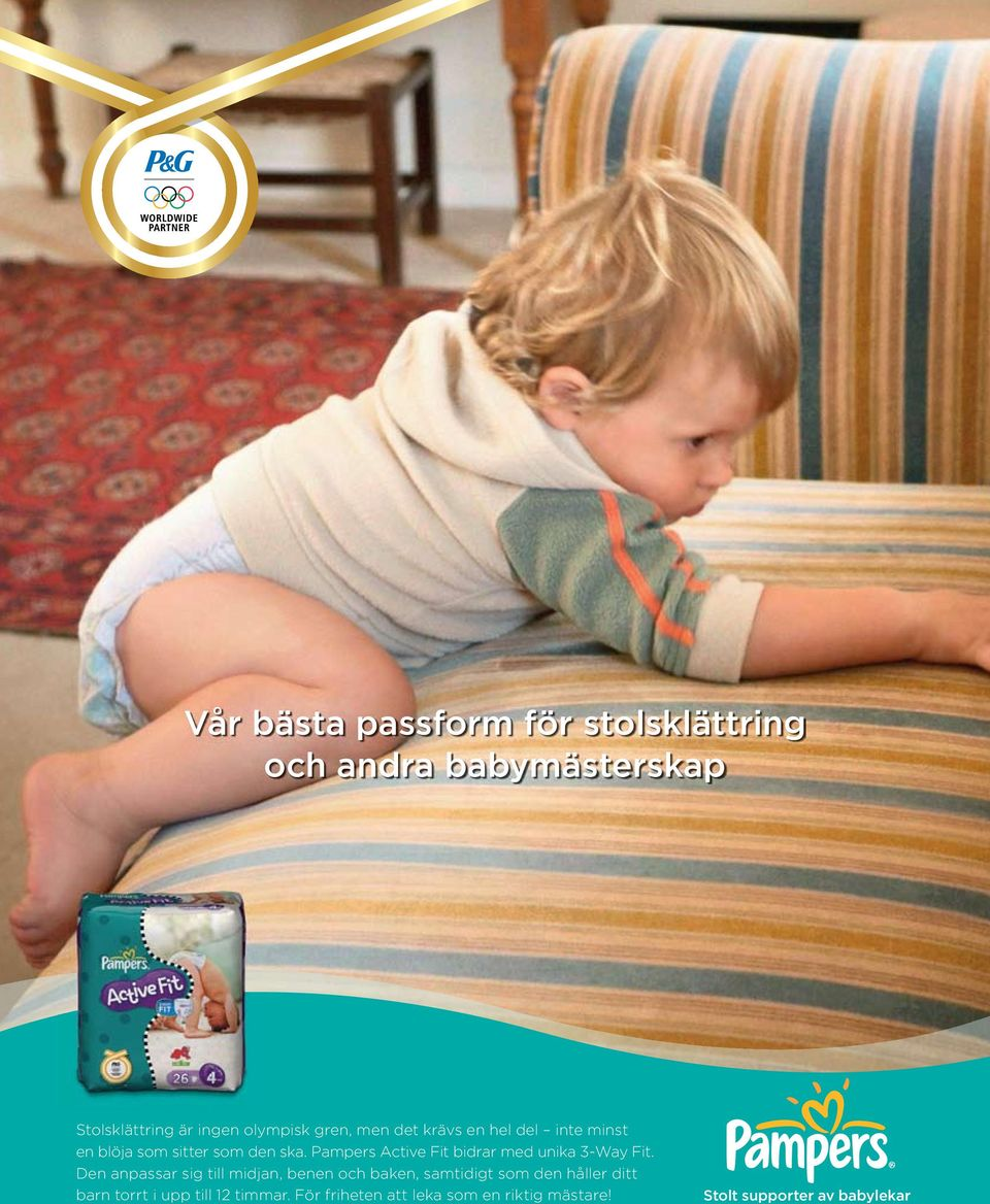 Pampers Active Fit bidrar med unika 3-Way Fit.