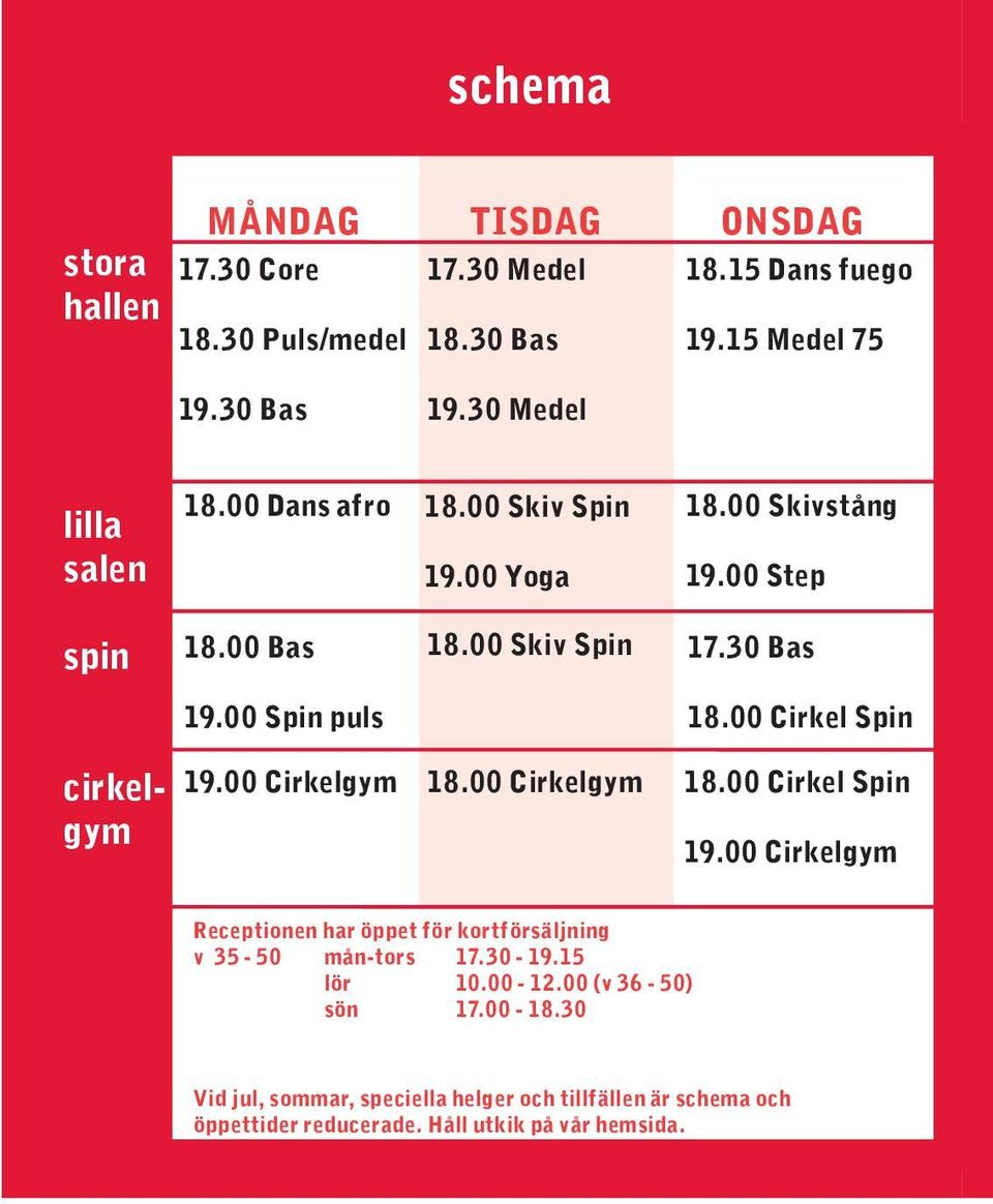00 Cirkel Spin cirkelgym 19.00 Cirkelgym 18.00 Cirkelgym 18.00 Cirkel Spin 19.