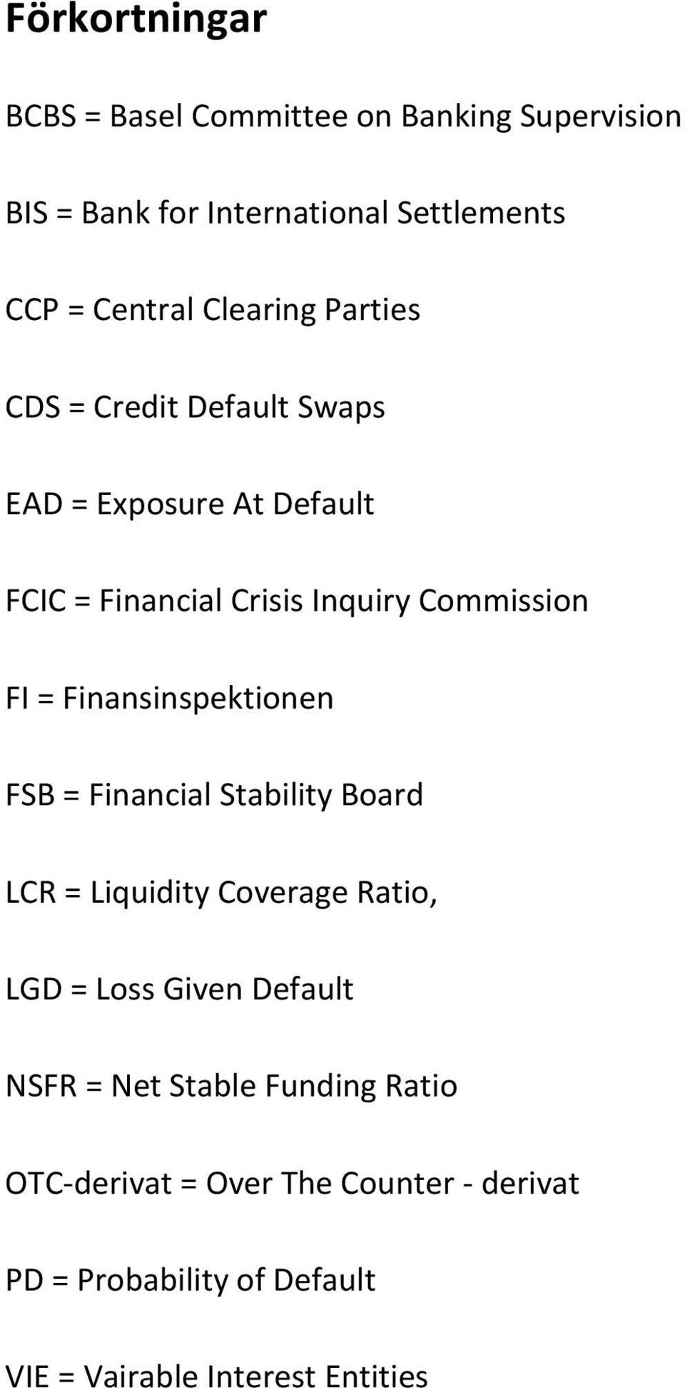 Finansinspektionen FSB = Financial Stability Board LCR = Liquidity Coverage Ratio, LGD = Loss Given Default NSFR = Net