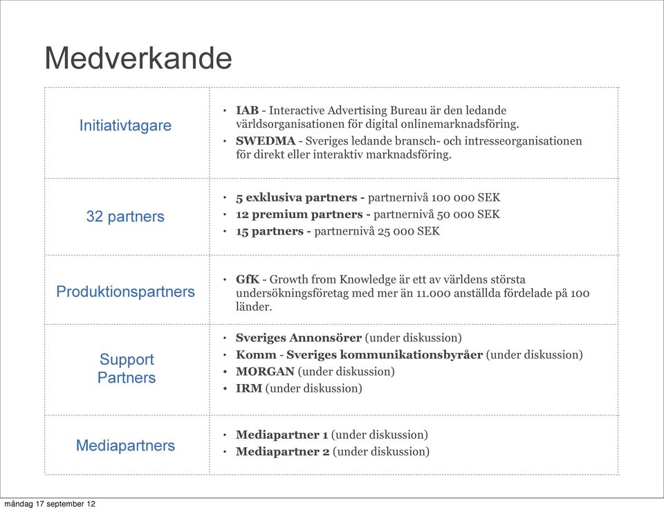 32 partners 5 exklusiva partners - partnernivå 100 000 SEK 12 premium partners - partnernivå 50 000 SEK 15 partners - partnernivå 25 000 SEK Produktionspartners GfK - Growth from Knowledge är