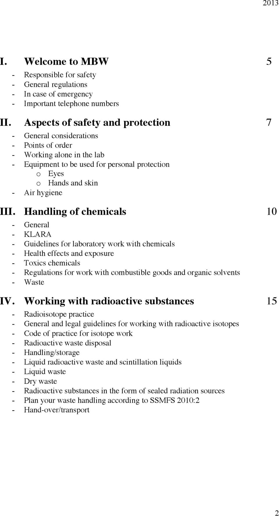 Handling of chemicals 10 - General - KLARA - Guidelines for laboratory work with chemicals - Health effects and exposure - Toxics chemicals - Regulations for work with combustible goods and organic