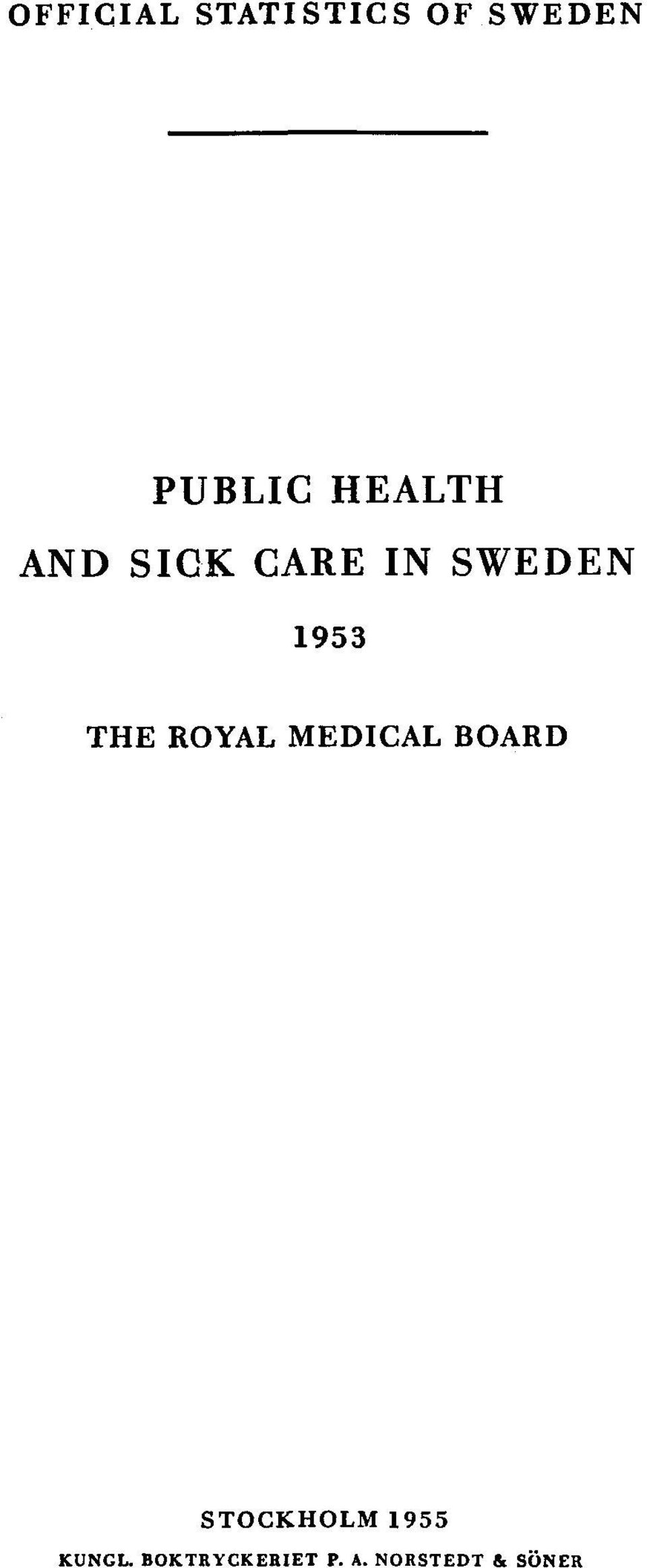 THE ROYAL MEDICAL BOARD STOCKHOLM 1955