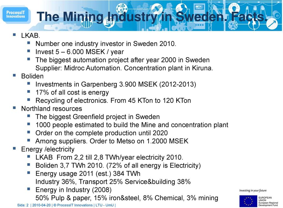 900 MSEK (2012-2013) 17% of all cost is energy Recycling of electronics.