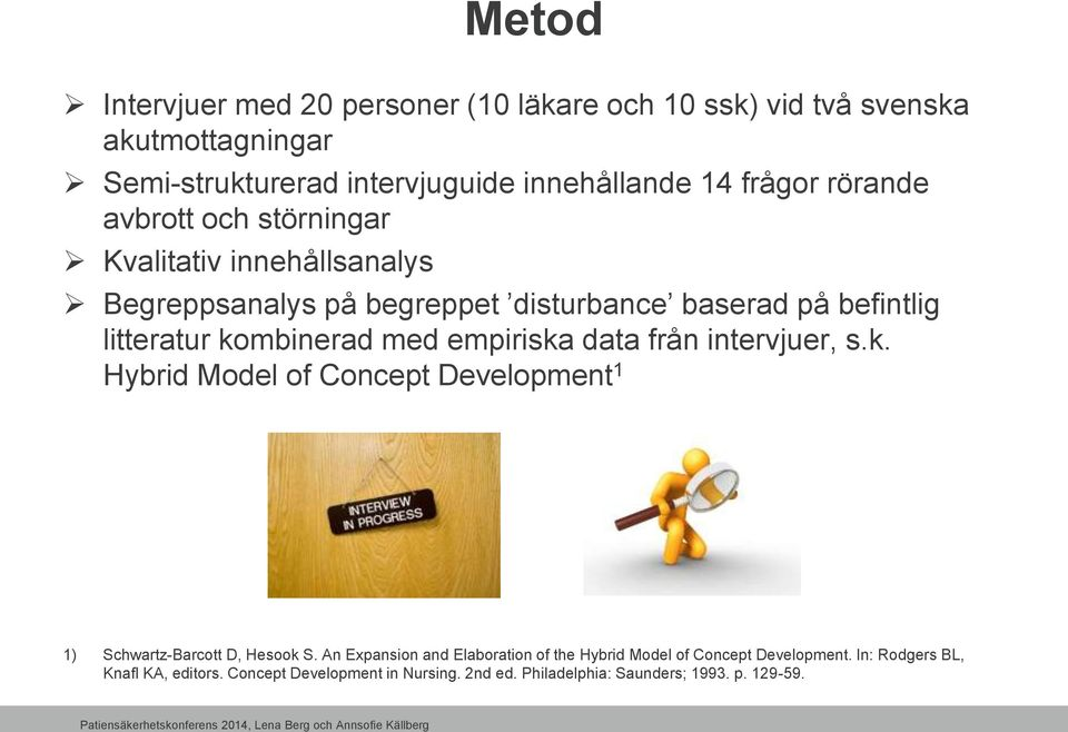 empiriska data från intervjuer, s.k. Hybrid Model of Concept Development 1 1) Schwartz-Barcott D, Hesook S.