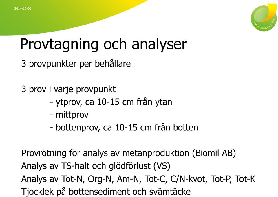 analys av metanproduktion (Biomil AB) Analys av TS-halt och glödförlust (VS) Analys av