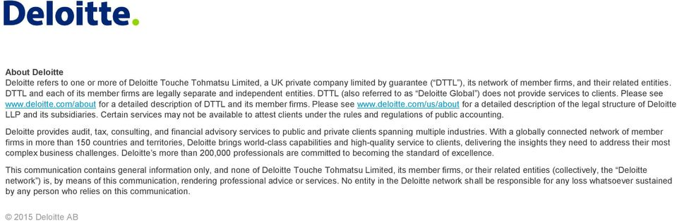 com/about for a detailed description of DTTL and its member firms. Please see www.deloitte.com/us/about for a detailed description of the legal structure of Deloitte LLP and its subsidiaries.