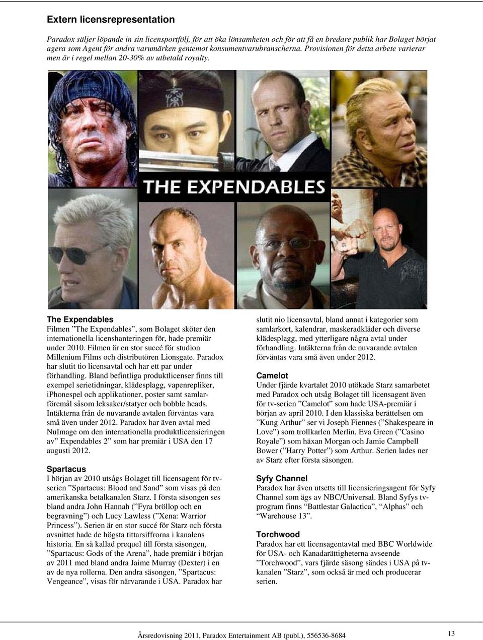 The Expendables Filmen The Expendables, som Bolaget sköter den internationella licenshanteringen för, hade premiär under 2010.