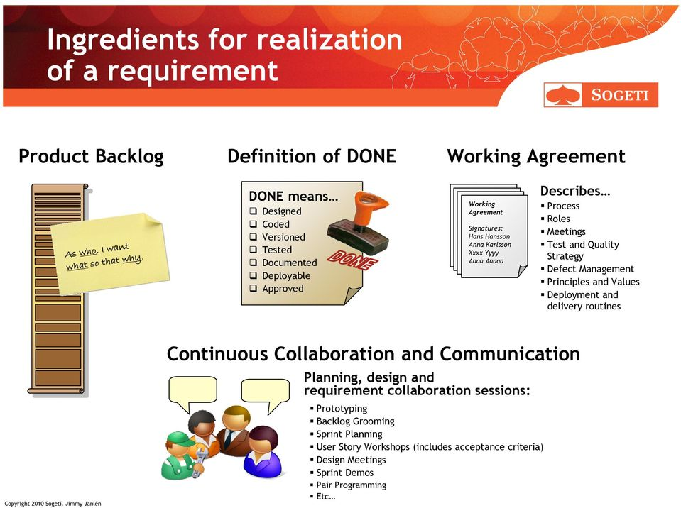 Defect Management Principles and Values Deployment and delivery routines Continuous Collaboration and Communication Planning, design and requirement
