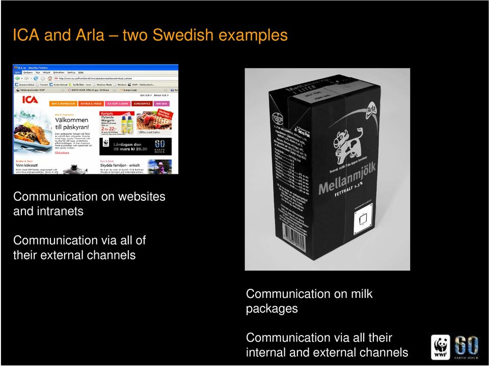 their external channels Communication on milk