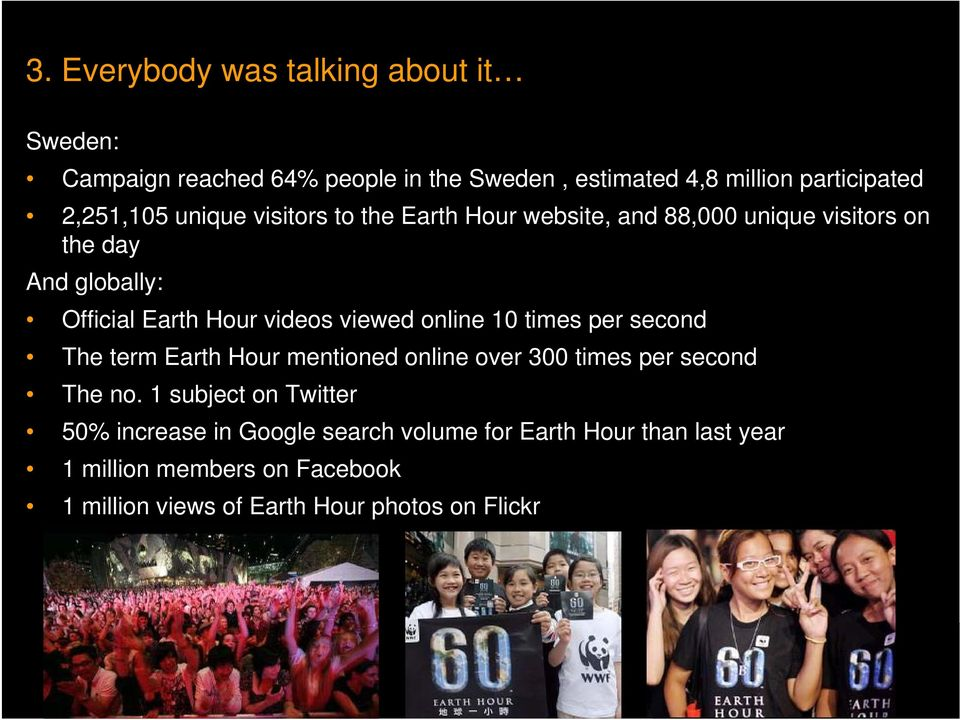 online 10 times per second The term Earth Hour mentioned online over 300 times per second The no.